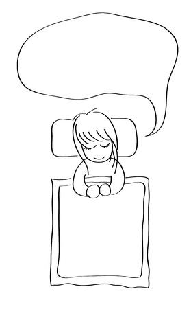 Little girl sleeping with word bubble hand drawing cartoon doodle - Vector Stock Vector - 13485329