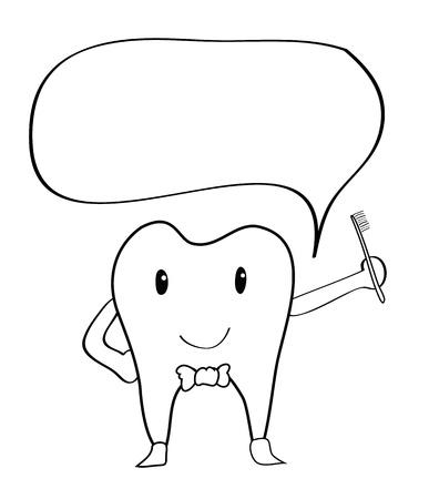 dientes caricatura: Dientes de dibujo de la historieta a mano dibujo - Vector