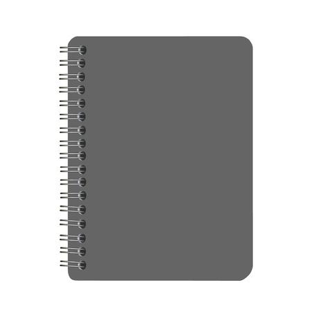 수첩: 흰색 배경에 고립 된 빈 검은 색 커버 나선형 노트북 일러스트