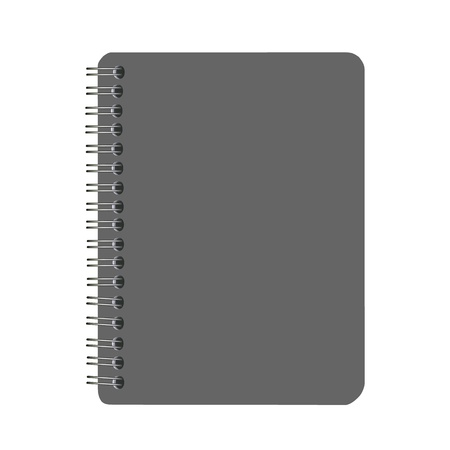 notebook page: blank black cover spiral notebook isolated on white background Illustration