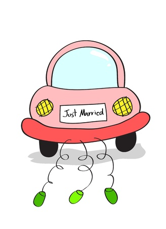 Hand drawing illustration of just married on car driving cartoon doodle Vector