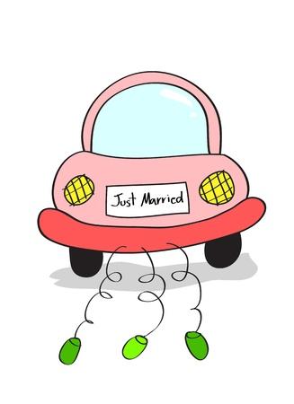 recien casados: Ilustraci�n de la mano dibujo de reci�n casados ??en la historieta del coche de conducci�n dibujo