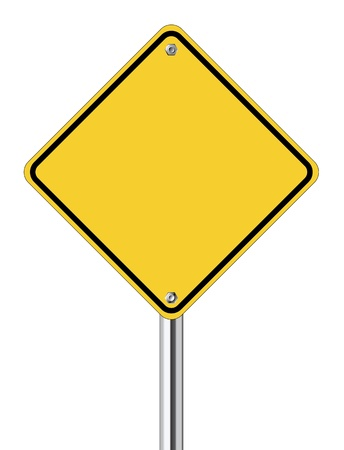 Blank yellow road sign on white background Stock Vector - 13638011