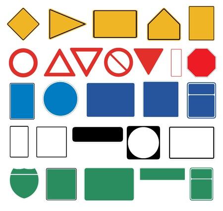 흰색 배경에 빈 교통 표지판