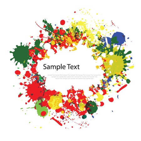 Colorful ink splashes on white background