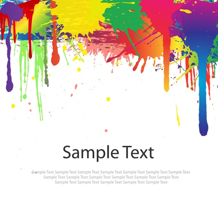 dripping paint: Colorful paint splash on white Illustration