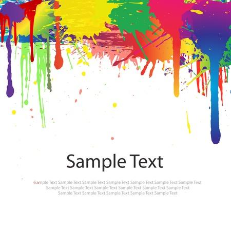 Salpicaduras de pintura de colores sobre fondo blanco Ilustración de vector