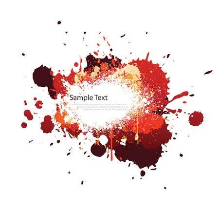 splash paint: Red splash de couleur ton sur blanc
