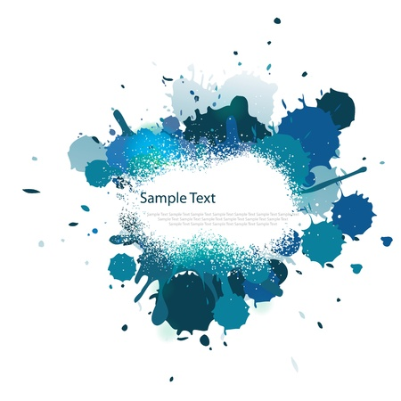 Blue tone color splash on white Vector