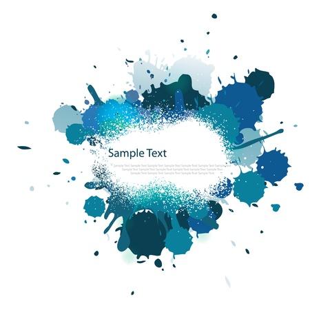 splash color: Schizzi di colore blu tono su bianco Vettoriali