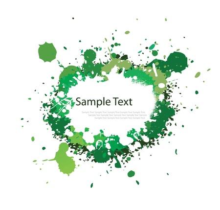 green tone: Green tone ink splash on white
