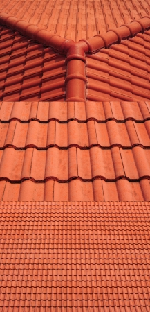 3 view of red roof tiles background photo