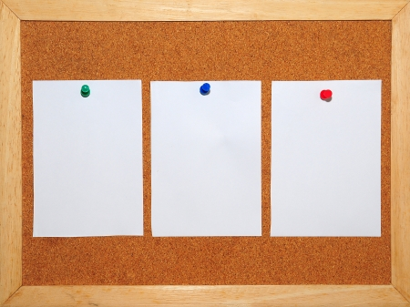 3 White Paper pinned on Corkboard background Stock Photo - 13803262