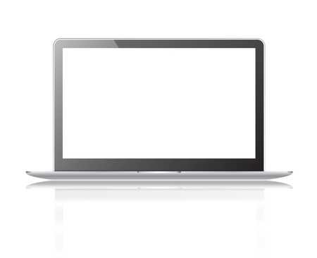 Black thin laptop with white screen isolated on a white background Stock Photo - 13802975