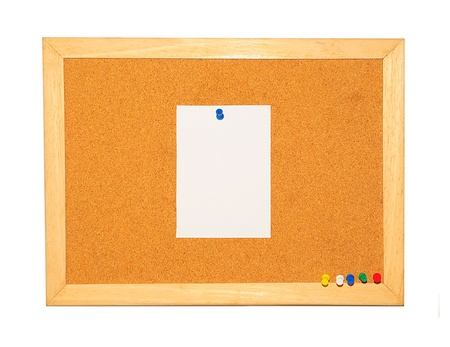 Cork Board with blank note and pin background photo
