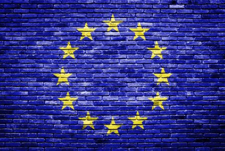 euro flag painted on old brick wall texture background Stock Photo - 13803720