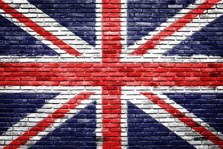 Great britain on old brick wall texture background Imagens - 13803725