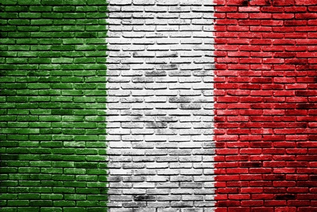 Italy flag painted on old brick wall texture background 版權商用圖片 - 13803714