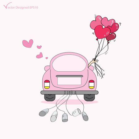 net getrouwd: Net getrouwd op auto rijden op hun huwelijksreis