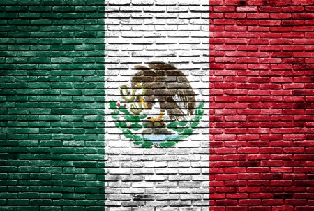 Mexico flag painted on old brick wall texture background photo