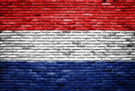 netherlands flag painted on old brick wall texture background photo