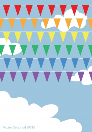 Rainbow flags on the blue sky with white clouds photo