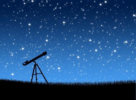 별 배경에서 잔디에 망원경