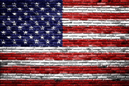 old brick wall: united states of america flag painted on old brick wall texture background Stock Photo