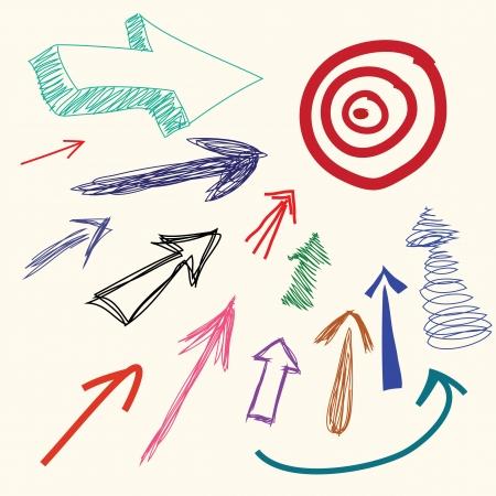 Hand drawing cartoon doodle arrow Illustration