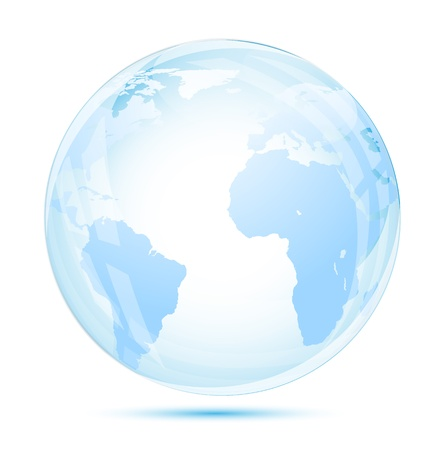 Globe glass in blue on white background Vector
