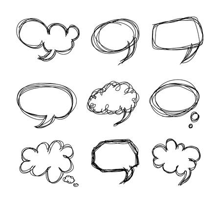 Hand drawing speech bubbles cartoon doodle