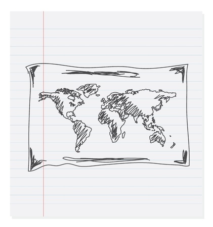 composition notebook: Hand drawing map of the world on paper Illustration