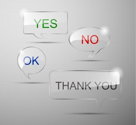현실적인 유리 연설 확인, 예, 아니오 거품, 감사합니다