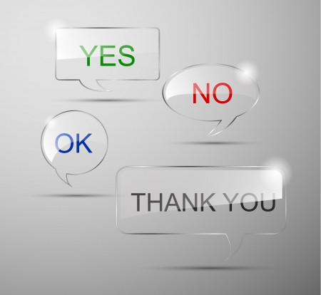 idea bubble: realistic glass speech bubbles  yes,no,ok,thank you Illustration