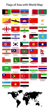 Flags of Asian with World Map
