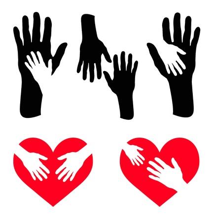 personas ayudando: Juego de manos el cuidado y la mano en el corazón rojo