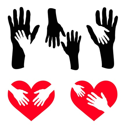 Set of caring hand and hand on red heart Ilustração