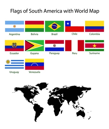 cuba flag: South America flag with world map