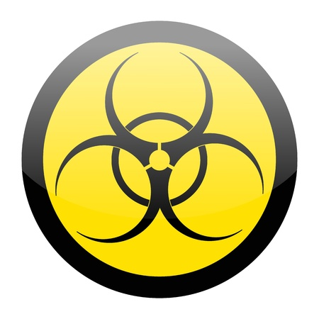 infectious waste: Biohazard sign isolated on a white background
