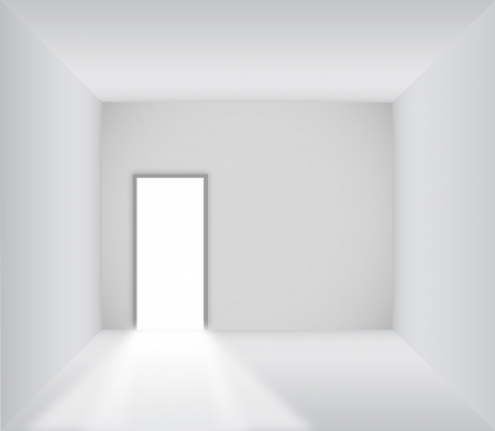 Blank room with opened door - Vector Imagens - 14122229