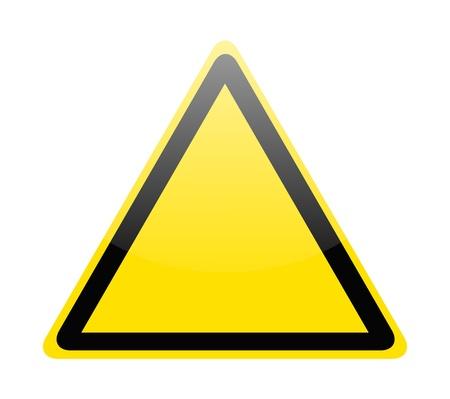 point d exclamation: Blank panneau jaune d'avertissement des dangers sur fond blanc