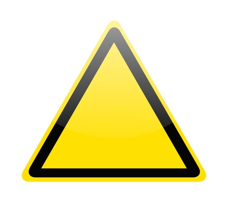 triangle shape: Blank yellow hazard warning sign on white Illustration