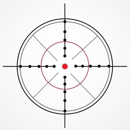 snajper: Celownik z czerwoną kropką na białym Ilustracja