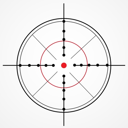 gun sight: Crosshair with red dot on white Illustration