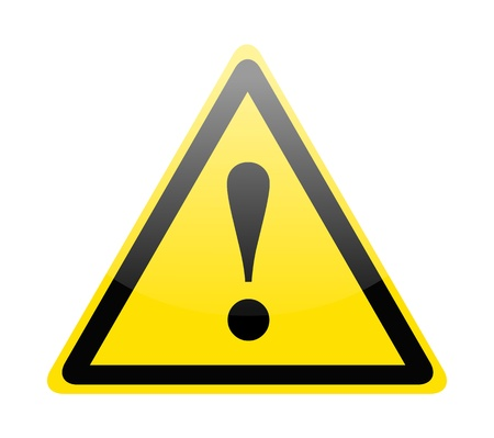 Yellow danger warning sign on white Illustration
