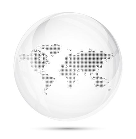 esfera de cristal: Mapa del mundo con puntos en una esfera de vidrio de color gris sobre fondo blanco