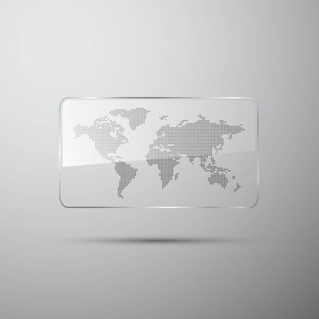plexiglas: Dotted world map in the glass on gray