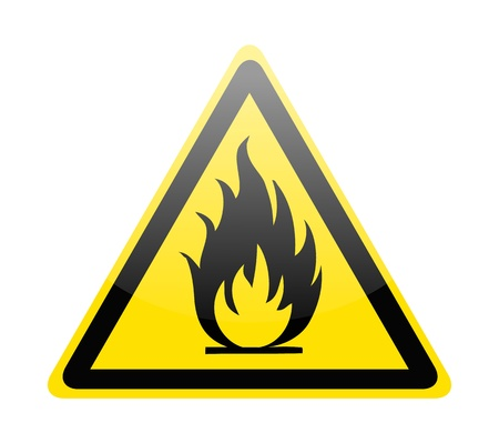 flammable warning: Fire warning sign on white Illustration