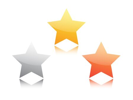 Gold, silver and bronze star isolated on white Vector
