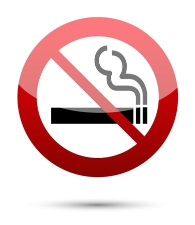 prohibido fumar: No hay señales de fumar en blanco Vectores